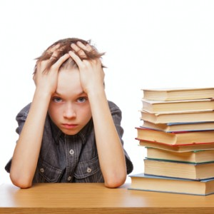 Frustrated child with learning difficulties.